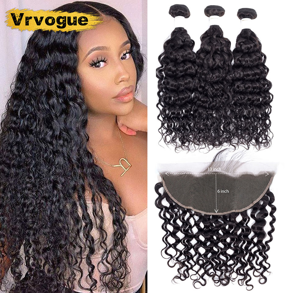Vrvogue Brazilian Water Wave Bundles With 13x6 Lace Frontal Pre Plucked With Baby Hair Human Hair Bundles With Frontal Remy Hair