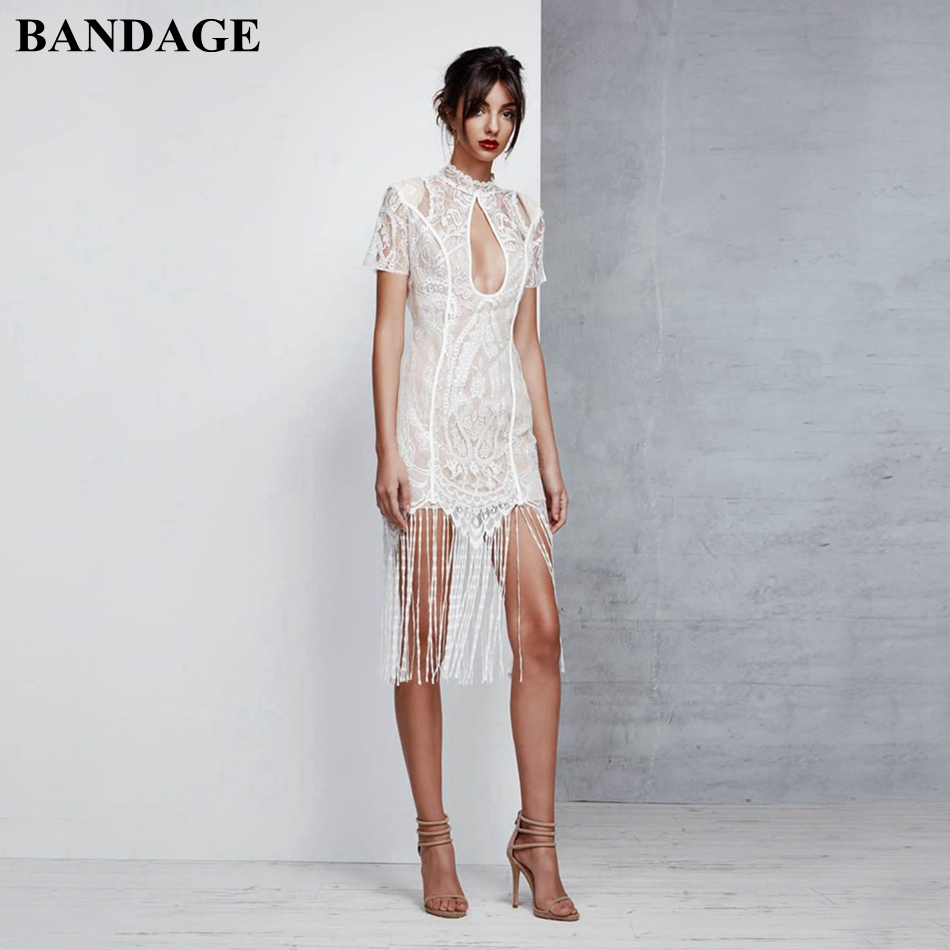 BANDAGE automne blanc Bandage robe Sexy évider glands dentelle robes femmes Mini noël nouvel an robe de soirée