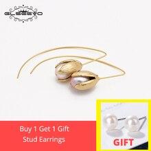 XlentAg Natural Freshwater Pearl Tulip Flower Drop Earrings 925 Sterling Silver Dangle kolczyki Damskie Handmade GE0100