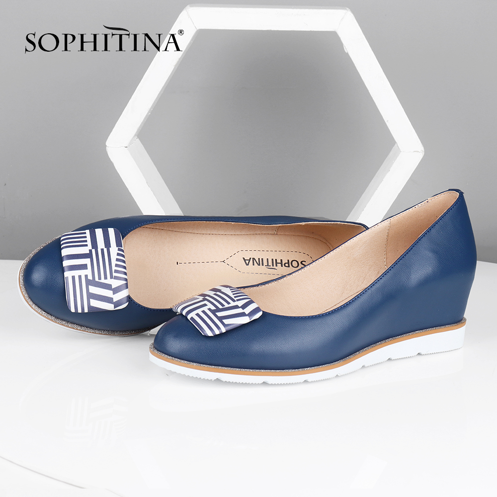 SOPHITINA Spring Autumn Women Flats Round Toe Increase Within High Quality Sheepskin New Shoes Casual Comfortable Flats PC595