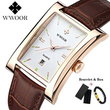 Ultra-thin Mens Watches Brand WWOOR Watch Square Quartz Waterproof Man Business Leather Wrist Relogio Masculino