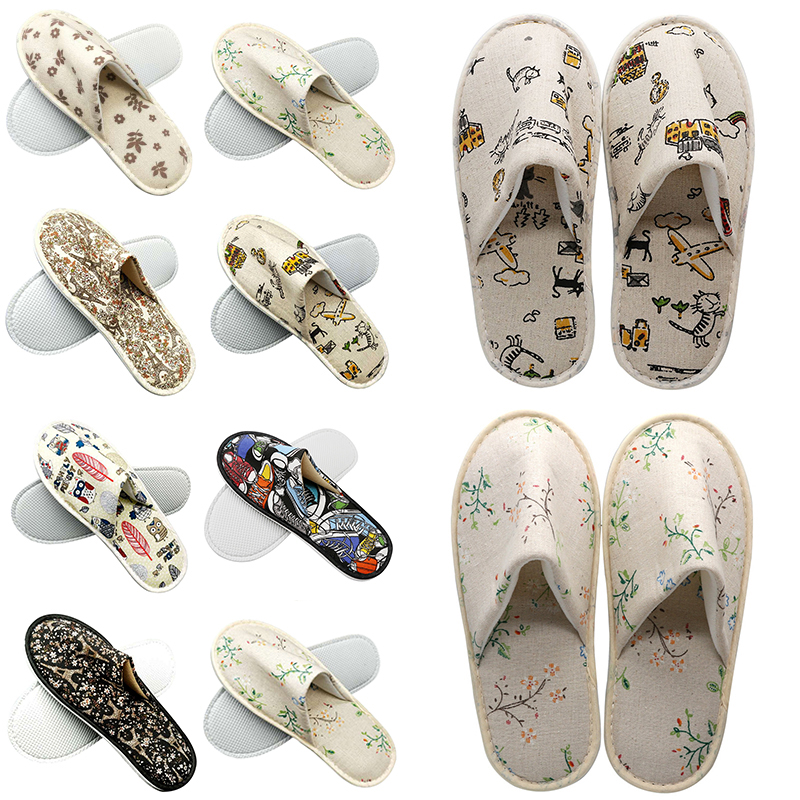 Hotel Travel Spa Disposable Slippers Cute Printed Linen Guest Slippers Home New Room Beauty Salon Slippers Women's Slippers Hot