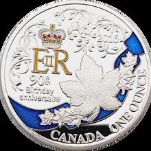 Rainha uma onça elizabeth 90th aniversário aniversário banhado a prata moeda canadá nova lembrança moedas presente do festival