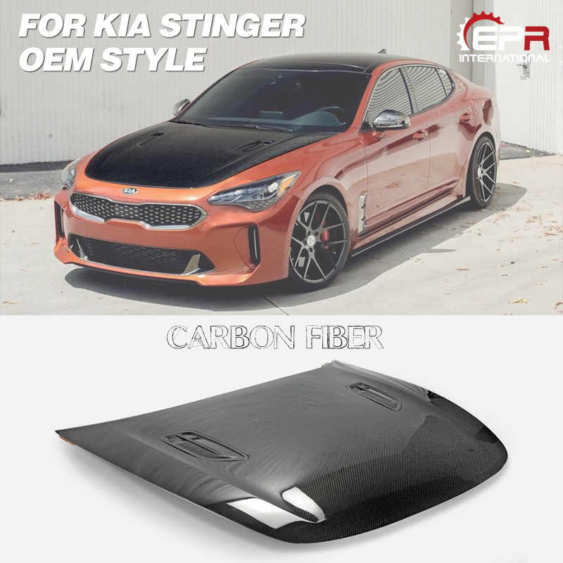 Car Accessories For Kia Stinger OEM Style Carbon Fiber Hood With EPA Style Vent Glossy Finish Bonnet Cover Tuning Kit Drift Trim