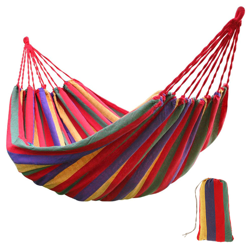 Outdoor Portable Hammock Canvas Colorful Striped Hammocks Ultralight Travel Camping Hammock With Backpack Leisure Furniture