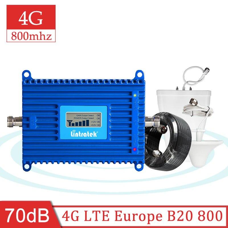 Усилитель сигнала Lintratek 4G B20 800 МГц, усилитель сигнала lte 800 4g, мобильный ретранслятор сигнала в Интернет, комплект антенн s7