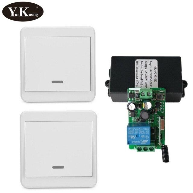 433 315 Remote Control Switch AC 110V 220V 240V 85V 260V Light Lamp LED Bulb Wireless Switches Corridor Room Wall Panel Switch