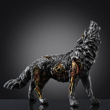 Mechanical Wolf Statue Decor Crafted Animal Figurine home décor Sculpture decoration Gifts Office Table Decoration Home garden