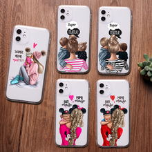 PUNQZY Cute girl love mom Phone Case For iPhone 11 PRO max 8 7 6 Plus 5 XS MAX XR Mother's day gift Soft TPU Transparent Cover punqzy cute baby super girl mom love case for iphone 11 pro max 6 7 7s 8 plus xs xr xs max soft tpu transparent love mom love