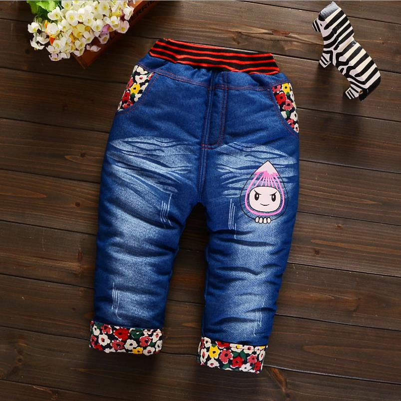 2019New Fashion Girls Autumn Winter Thicken Jeans Baby BoyEmbroidery  Jeans Kids Elastic Waist Winter Trousers Warm Pants 5