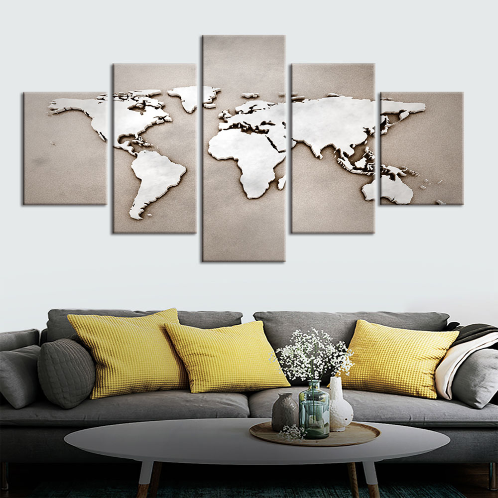 canvas painting picture Abstract world map poster living room wall decoration painting prints wall art