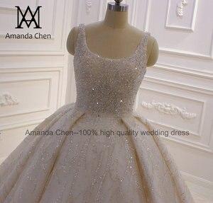 Image 3 - abito da sposa Cap Sleeve Crystal Pearls Shiny Turkey Wedding Dress 2020