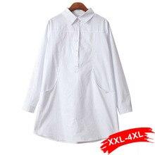 בתוספת גודל קצר לבן חולצות Xxxl 4Xl כפול כיסים ארוך שרוול לבן למעלה גדול ארוך חולצה Mariposas Haut Femmewhite blouseblouse xxxlblouses plus