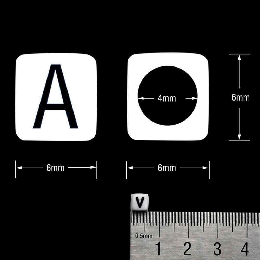 100 個 6 ミリメートルミックスレタービーズ正方形黒アルファベットアクリル白のビーズ diy ジュエリークラフトブレスレットネックレスアクセサリー