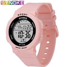 SYNOKE модные водонепроницаемые детские часы 50 м для студентов, для детей, для мальчиков и девочек, цифровой светодиодный Будильник, повседневные часы, спортивные наручные часы