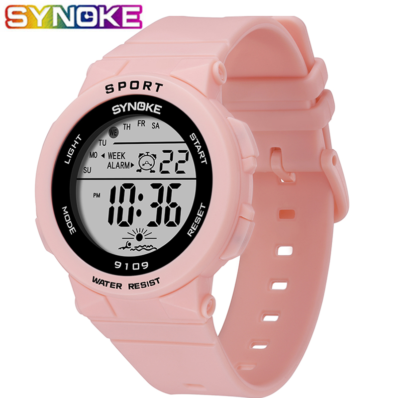 SYNOKE Fashion 50M Waterproof Students Kids Watches Children Boys Girls Digital LED Alarm Date Casual Watches Sport Wrist Watch