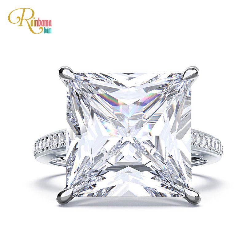 Rainbamabom 925 Sterling Silver Square Created Moissanite Diamonds Gemstone Engagement Wedding Couple Rings Jewelry Wholesale