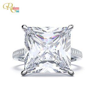 Image 1 - Rainbamabom 925 prata esterlina quadrado criado moissanite diamantes pedra preciosa noivado casamento casal anéis jóias atacado