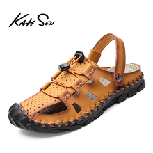 New Casual Men Soft Sandals Comfortable Summer Leather Mens slippers Roman Outdoor Beach Big Size 38-46