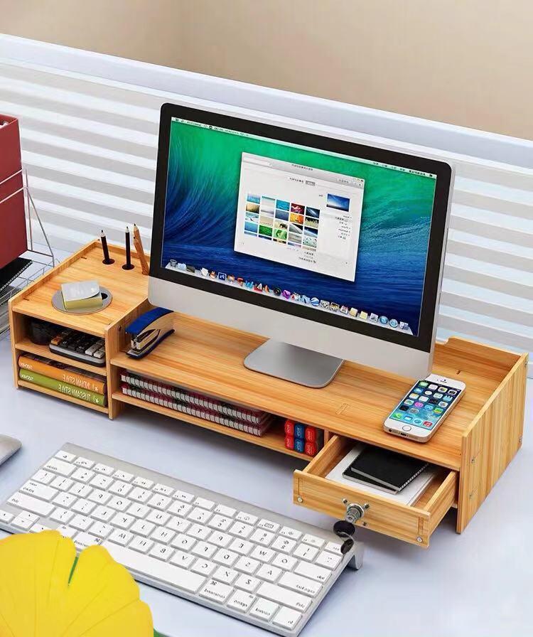 Computer Monitor Stand Base Storage Box Office Supplies Desktop Storage Box Folder Keyboard  Home Office  Finishing Table