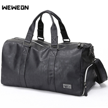 PU Men's Gym Training Bag Leather Sport Handbag with Shoes Compartment Fitness/Military Bag Muscle Man Training Travel/Luggage big capacity pu luggage stripe handbag durable travel fitness training gym single shoulder bag black white