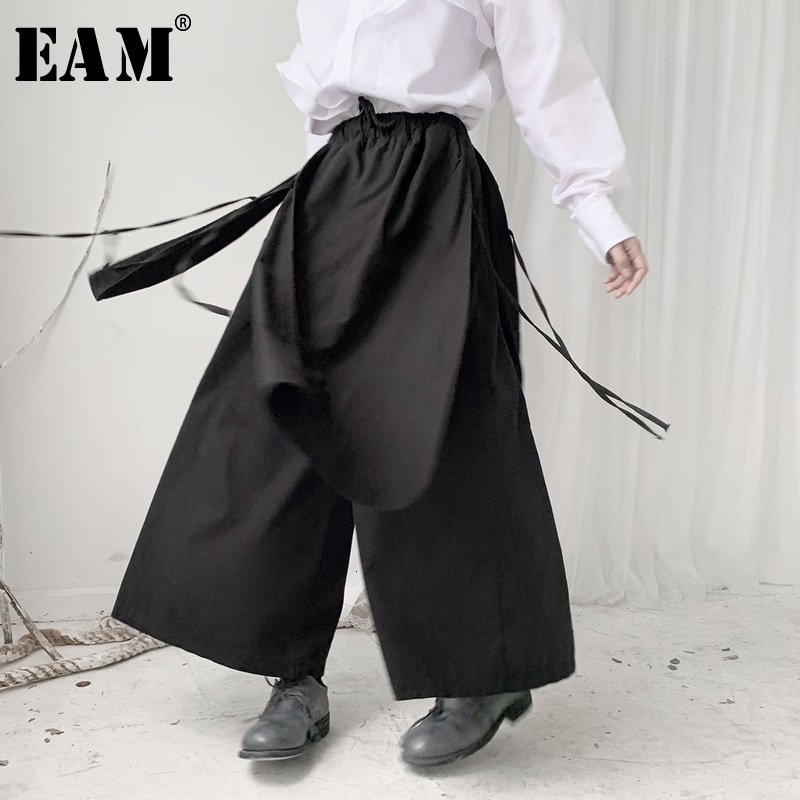 [EAM] High Elastic Waist Black Bandage Long Wide Leg Trousers New Loose Fit Pants Women Fashion Tide Spring Autumn 2020 19A-a588