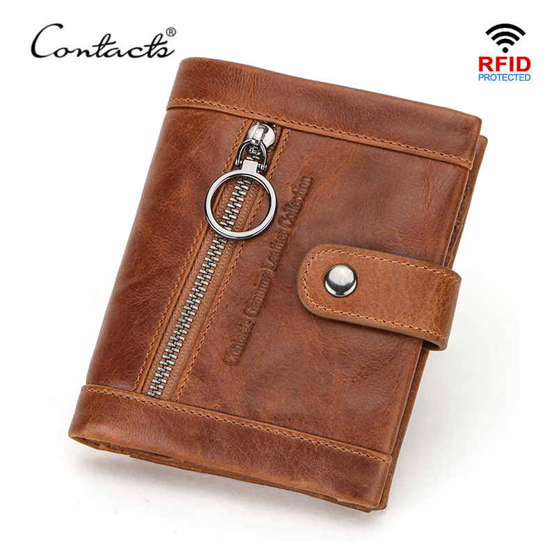 CONTACT'S Casual Men's Wallet Genuine Leather Brand Rfid Wallet Male Coin Purse Small Bifold Credit Card Holder High Quality