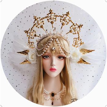 Wspaniała biała róża skrzydła anioła KC Gothic Lolita sąd korona Halo przysłona księżniczka królowa papież rekwizyty Cosplay Notre Dame pałąk tanie i dobre opinie Nakrycia głowy Kostiumy Unisex Dla dorosłych Other KL01