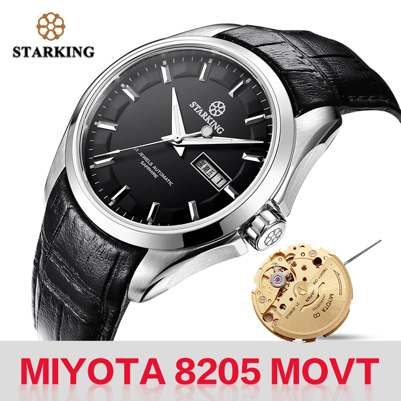 STARKING Men Mechanical Watch Miyota 8205 Movt Automatic Self-wind Watches Waterproof Sapphire Wristwatch Gift Relogio Masculino