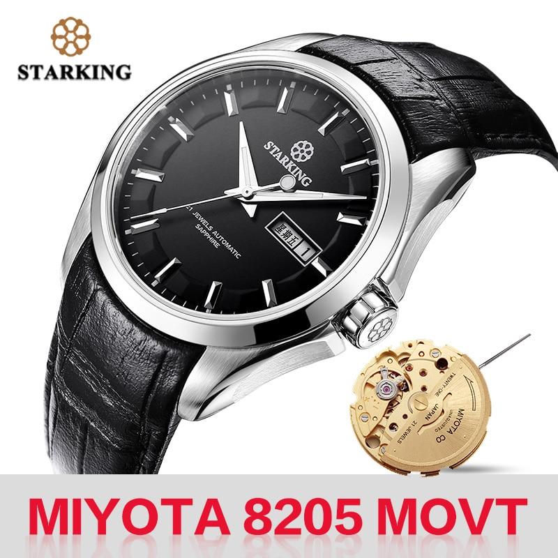 STARKING Men Mechanical Watch Miyota 8205 Movt Automatic Self-wind Watches Waterproof Sapphire Wristwatch Gift Relogio Masculino