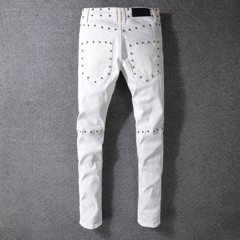 Top Quality Men Motor Biker Slim Fit Jeans Skinny Rivet Pencil Pants Punk Beads Pleated Long Pants Denim Trousers Big Size White