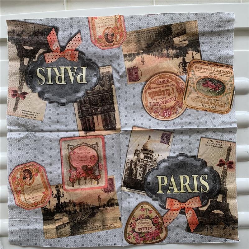 Vintage Cute Napkin Paper Tissue Bow Tie Tower Church Paris Decoupage Wedding Birthday Party Serviettes Dinner Decor Oils Crafts