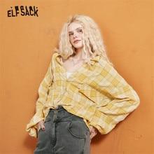 Oversize Shirts ELFSACK British Purple Basic-Tops Plaid Yellow Korean Casual Single-Breasted