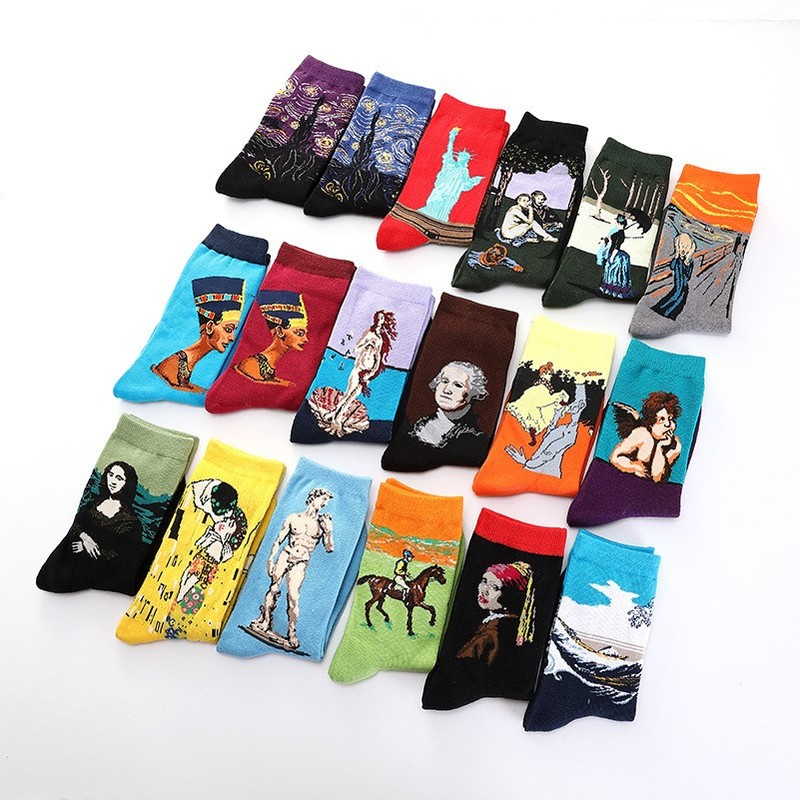 Autumn Winter New Van Gogh Murals World Famous Oil Painting Series Socks Funny Shark Astronaut Plant Animal Series Male Socks