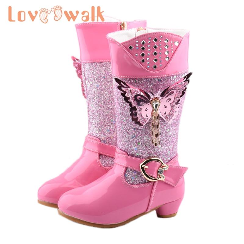 Princess Boots Girls Pink Glitter Girls