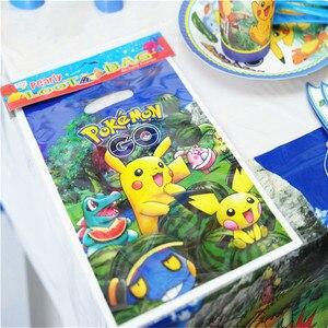 Pikachu Pokemon de dibujos animados, decoraciones desechables para fiesta de cumpleaños, conjunto de vajilla para fiesta, mantel, plato de papel, suministros para fiestas infantiles