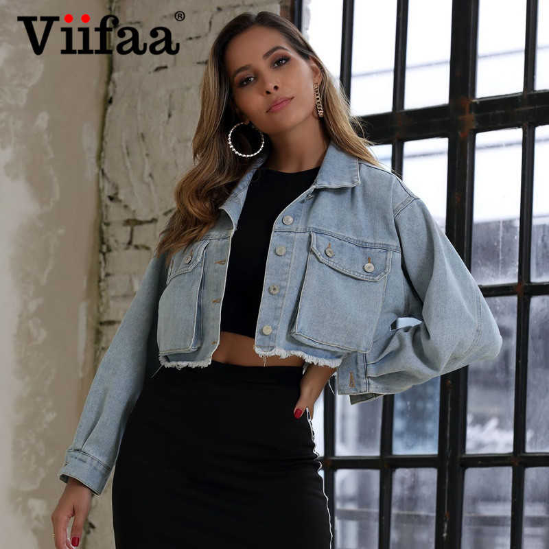 Viifaa Faded Wash Pocket Front Frayed Hem Cropped Denim Jacket Coat Women Spring Autumn Streetwear Casual Ladies Jackets