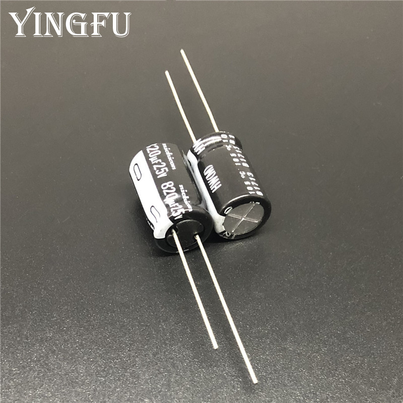 5pcs 820uF 25V Japan NICHICON HW Series 10x20mm High Ripple Low Impedance 25V820uF Aluminum Electrolytic Capacitor