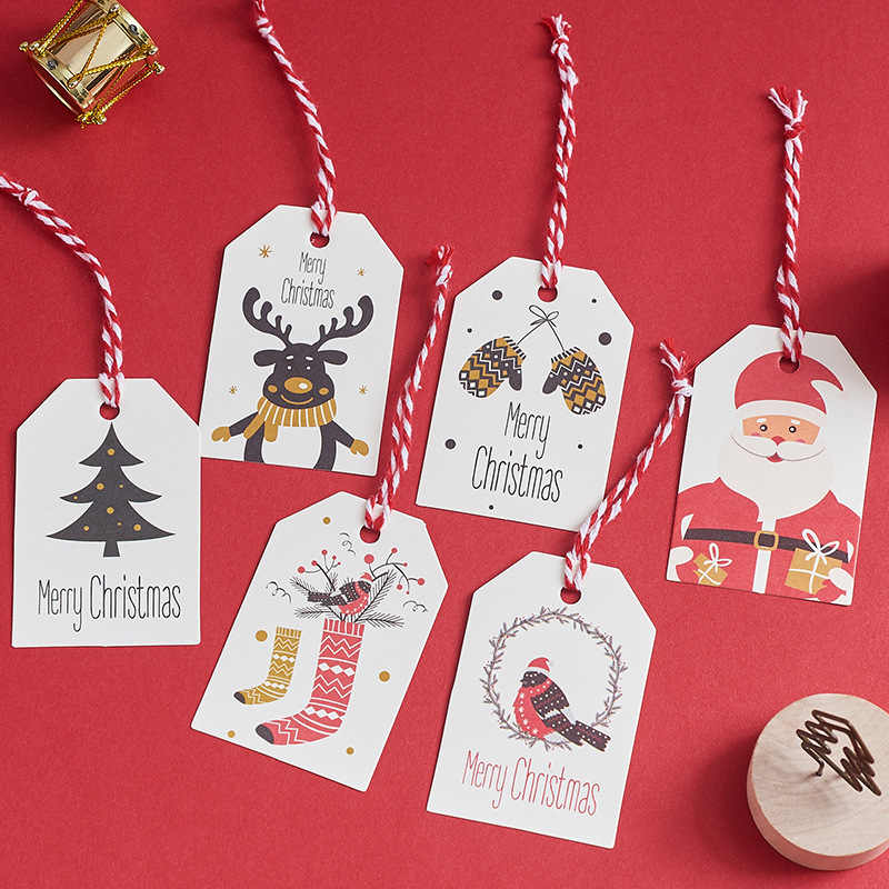 50pcs Merry Christmas Gift Tags DIY Kraft Santa Claus Snwoman Paper Hanging Tags Party Labels Gift Wrapping Xmas Party Supplies