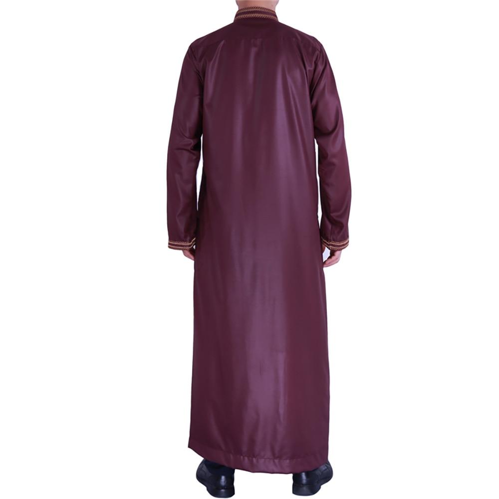 Zip Front Jubba Thobe Kaftan Dress For Men Nigerian Style Islamic Muslim Fashion Shiny Material Embroidery Qamis Man Djellaba 3