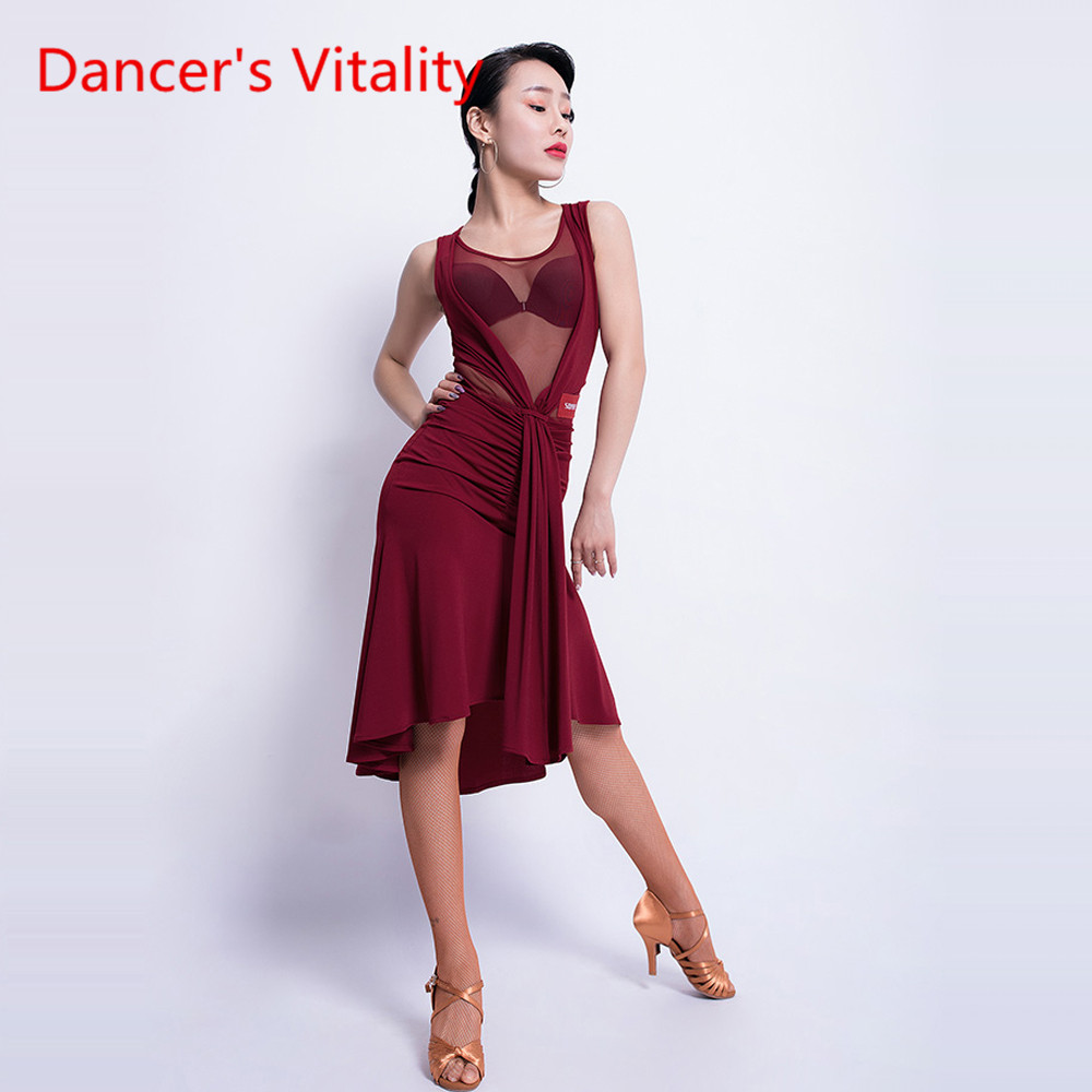 New Latin Dance Female Adult Sexy Dress Sleeveless Dance Costume Professional Competition/Performance Clothes