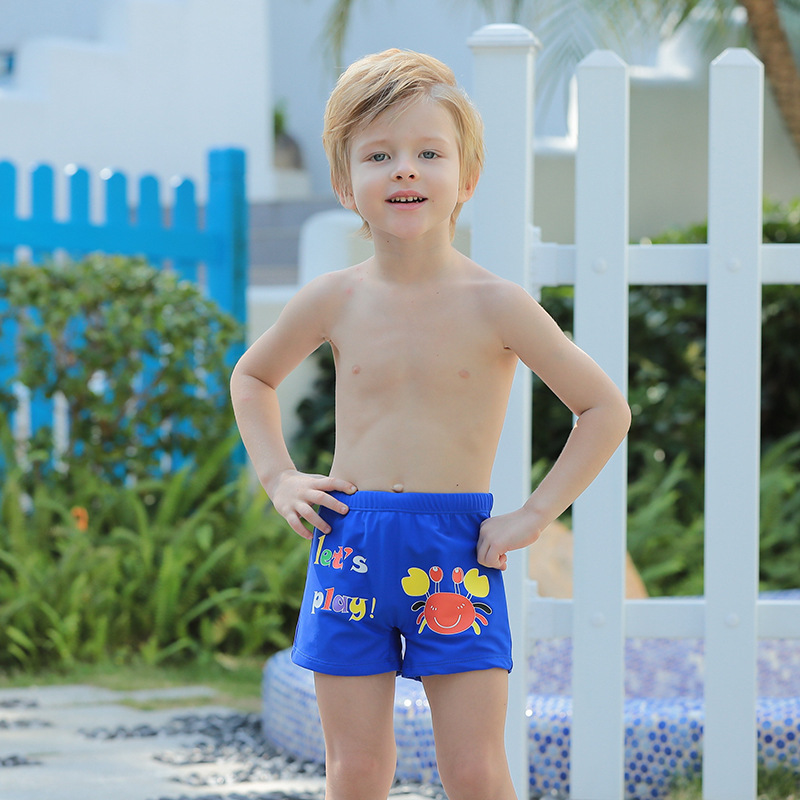 2019 New Style Lettered Cartoon Pattern Children Boxer Beach Hot Springs Cute Children Swimming Trunks Men's Manufacturers Direc