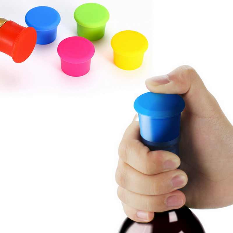 1pc Muti-color Silicone Wine Bottle Stoppper Reusable Beverage Bottle Seal Cap Saver Keep Fresh 35x25mm
