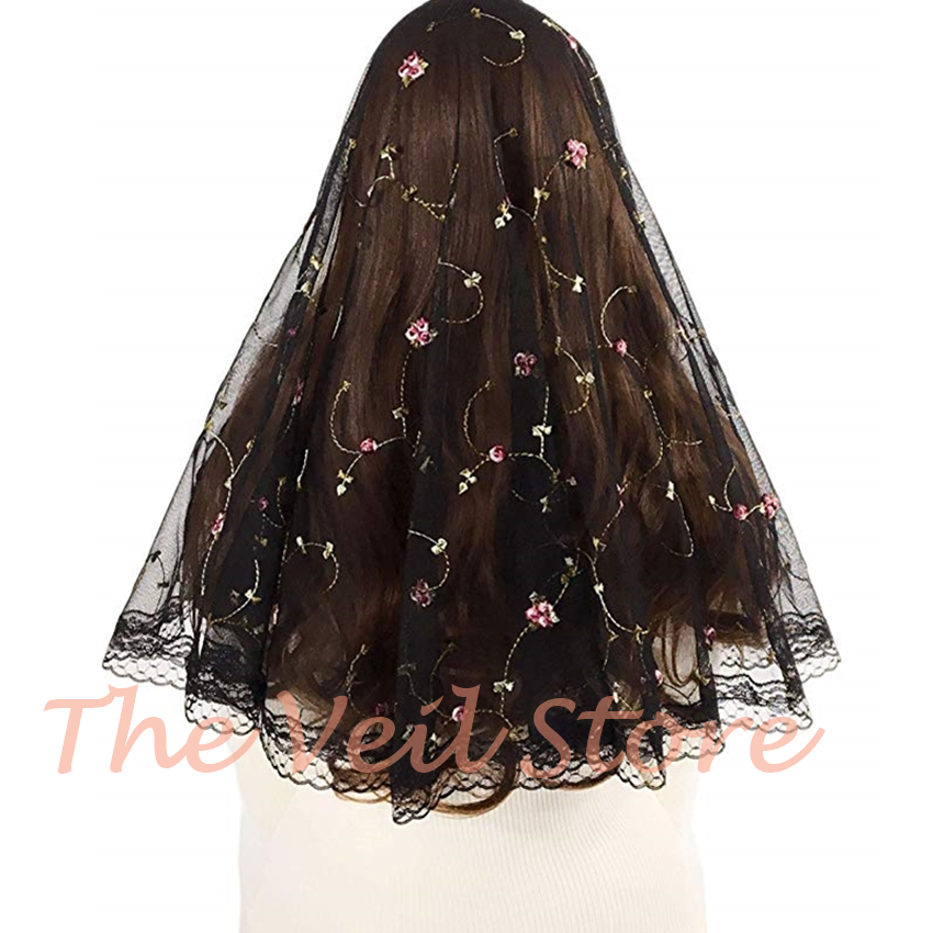 ISHSY Embroided Floral Tulle Lace Catholic Veils For Church Mantilla Black White HeadCovering Scarves Velo Negra Voile Mantille