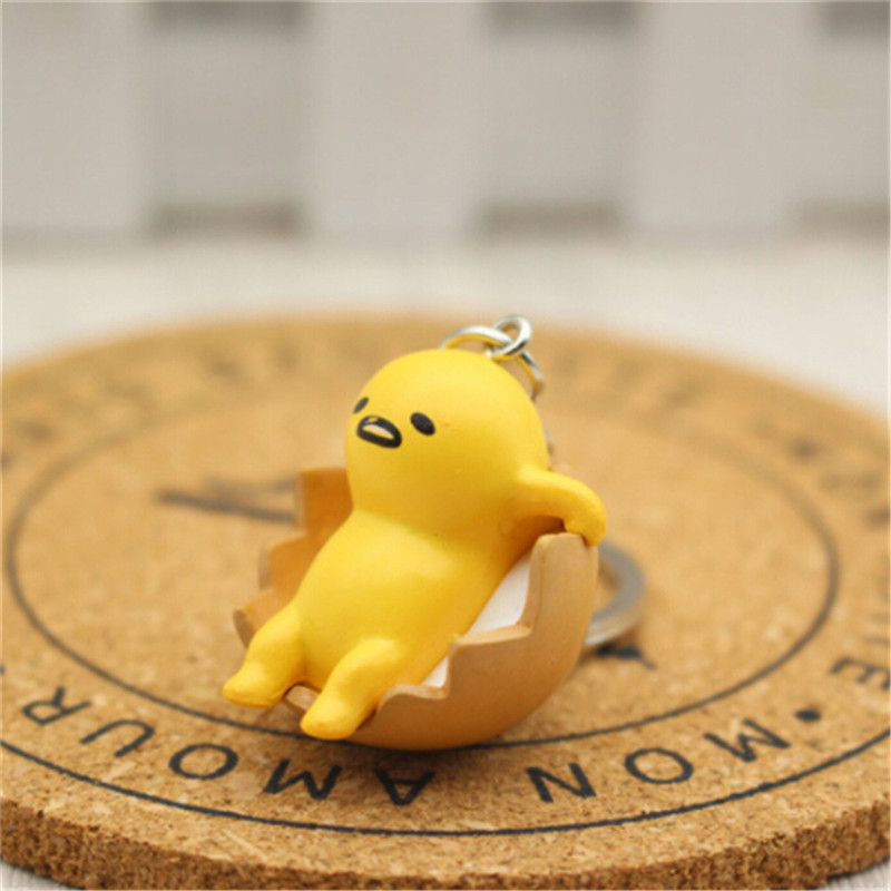 1 Pc 4cm Gudetama Egg Keyring Pendant Keychain Toys Yellow White Lazy PVC Action Figure Toys