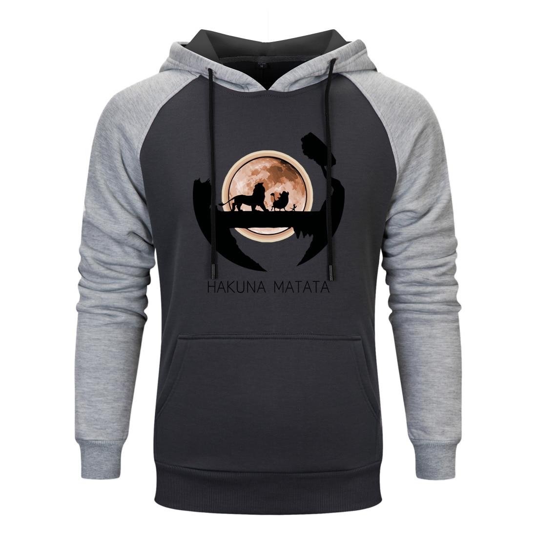 The Lion King Simba Printed Mens Raglan Hoodie Sweatshirts Man 2020 Hakuna Matata Fashion Casual Pullovers Men Spring Autumn Top