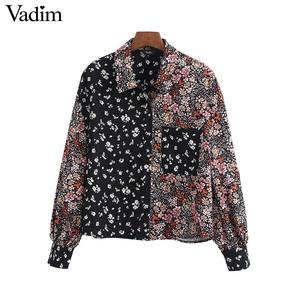 Image 1 - Vadim femmes rétro fleur patchwork blouse poche décorer à manches longues chemises femme décontracté élégant hauts blusas LB746