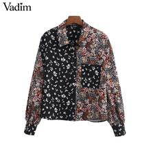 Vadim vrouwen retro bloemen patchwork blouse pocket versier lange mouwen shirts vrouwelijke casual stijlvolle tops blusas LB746