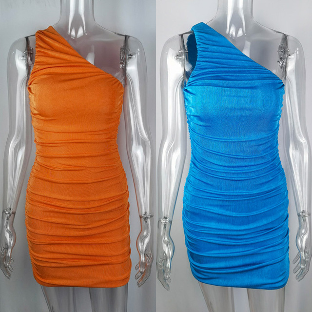 Sexy One Shoulder Mini Dress Summer Blue Orange Short Party Dress Women Sleeveless Ruched Bodycon Dress 2021 6