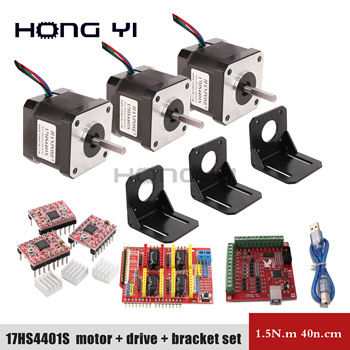 Free shipping 17hs4401s kit 4 lead + cnc shield v3 + 4 driver expansion board UNO R3 3D printing
